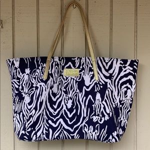 Lilly Pulitzer zebra print navy and white tote bag